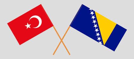 Crossed flags of Bosnia and Herzegovina and Turkey 向量圖像