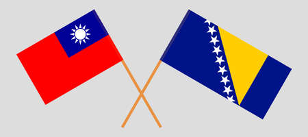 Crossed flags of Bosnia and Herzegovina and Taiwan 向量圖像