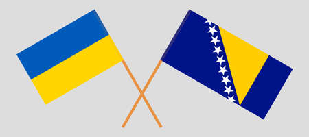 Crossed flags of Bosnia and Herzegovina and the Ukraine