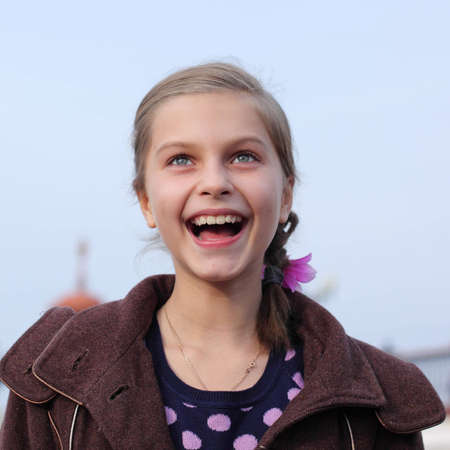 expressive: portrait of happy young girl  Stock Photo