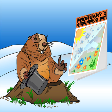 marmot: Groundhog Day. Marmot get out of the burrow in snow and blue sky painted in the vector for February 2