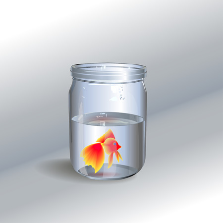 Glass jar with a goldfish. Painted hands vector. Illustration