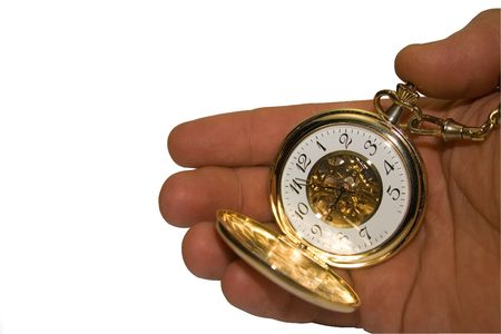 chainlet: Clock in a hand on a white background