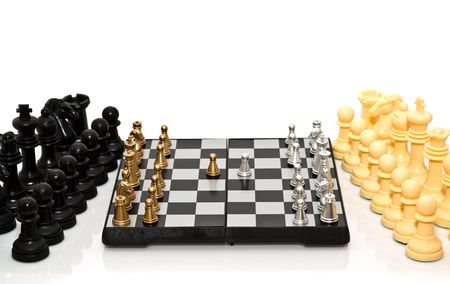 gold and silver chess on a white background Stock Photo - 4700738