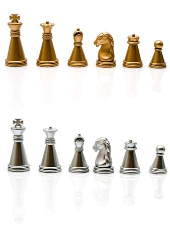gold and silver chess on a white background photo