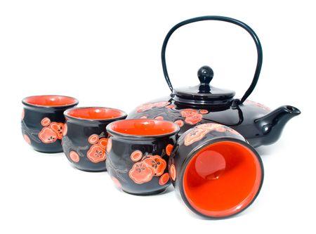 teaset: surprising tea-set on a white background