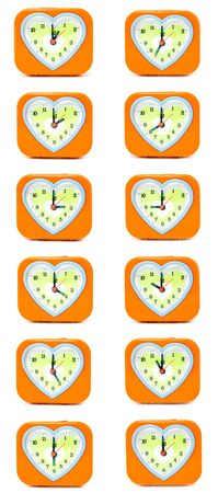 timezone: alarm clock with a heart on a white background