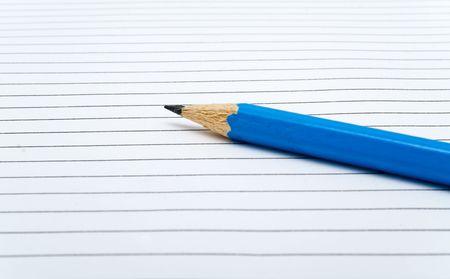 sharpenings: sharp dark blue pencil on a white background