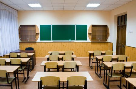 empty class for lessons at school in the evening