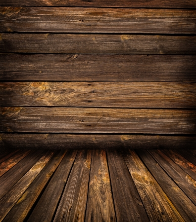wood floor: room from an old wooden Stock Photo