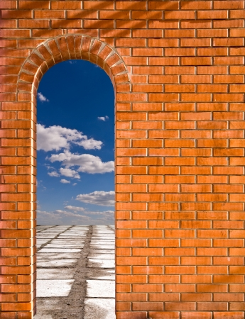 arkadia: arch in a wall with a kind cloudy sky Stock Photo