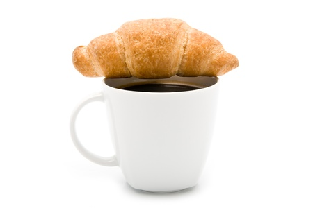 cake and coffee on a white background
