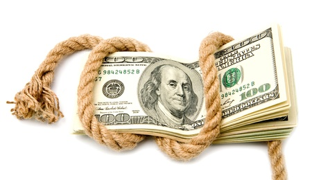 dollars and rope on a white background Banco de Imagens
