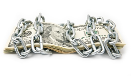 dollars in a chain on a white background Stock Photo