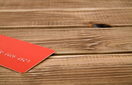 card on a wooden table photo