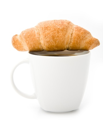 coffee and croissants on a white background