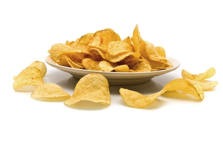 titbits: fried chips on a white background  Stock Photo