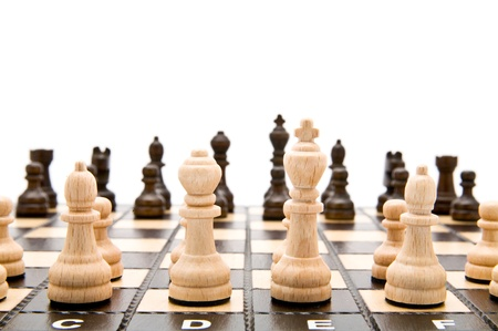 chess on a white background  Banque d'images
