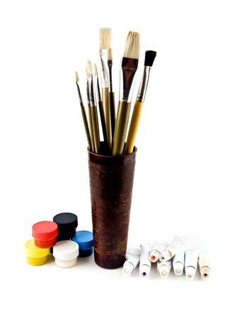 brushes and paints on a white background Stock Photo - 15630316