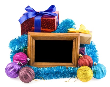 gifts and photo on a white background  Banco de Imagens