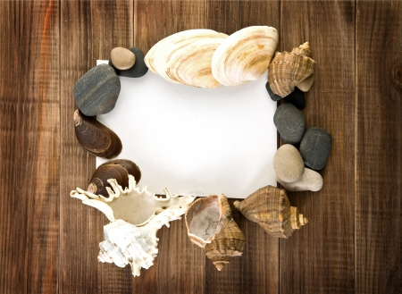 paper for a record with cockleshells and stone on a wooden background  photo