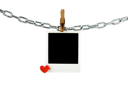 old picture with a heart on a white background Stock Photo - 15630276