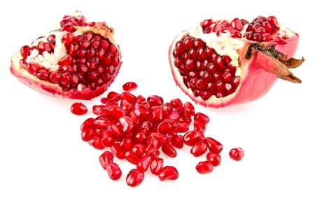 peal: pomegranate on a white background  Stock Photo