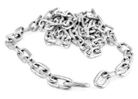 fetter: metallic chain on a white background  Stock Photo