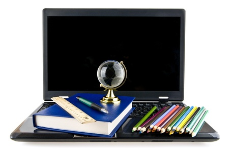 computer, books,pencils and a globe on a white background photo