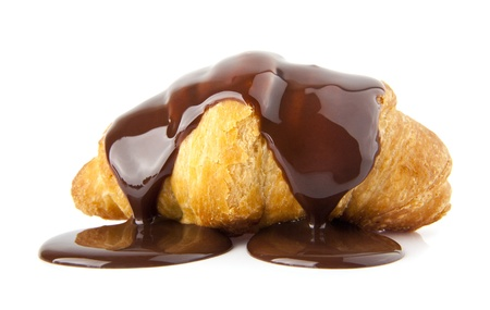 croissants with chocolate on a white background Banque d'images