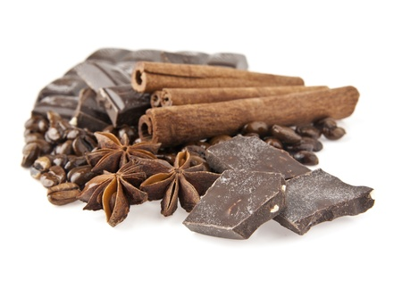 chocolate,coffee and spices on a white background Stock Photo