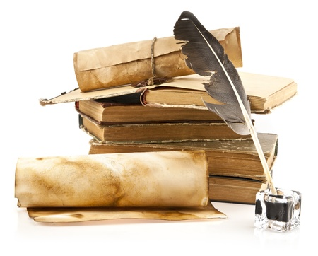 old books and pen on a white background