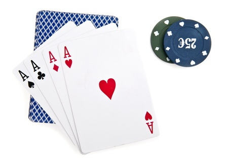 chips and maps for a poker on a white background  photo