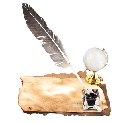 feather with inks and old letters on a white background