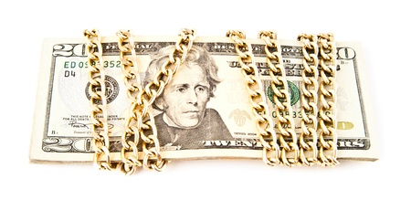 dollars in a chain on a white background photo