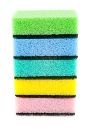 bath sponges on a white background photo
