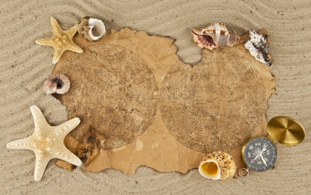paper and compass on sand photo