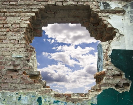 old wall and blue sky with clouds Stock Photo - 16474799