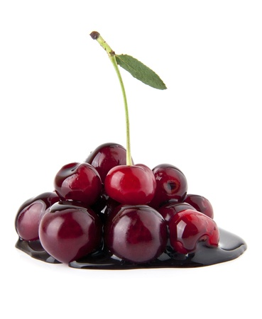 blanketed: chocolate cherry on a white background