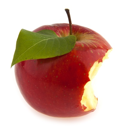 bitten red apple on a white background photo