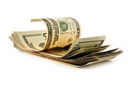 dolar: dólares en un fondo blanco Foto de archivo