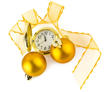 christmas toys with a clock on a white background photo