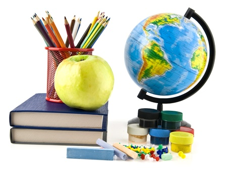 books, pencils and globe on a white background Stock Photo - 17517312