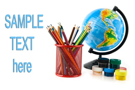 pencils and globe on a white background  Stock Photo - 17517472