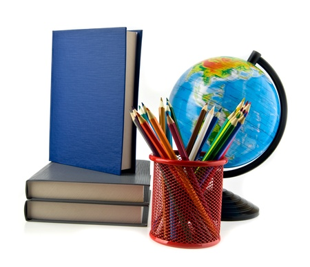 books, pencils and globe on a white background Stock Photo - 17517159