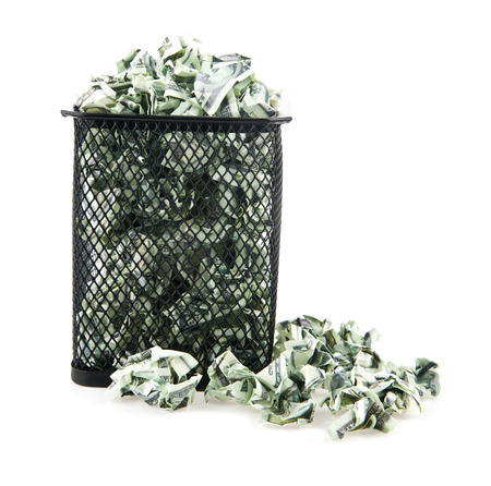disposed: basket with a paper on a white background