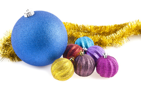christmas decorations are isolated a white background photo