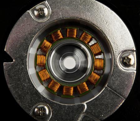 electromechanical: winding of the engine on a black background Stock Photo
