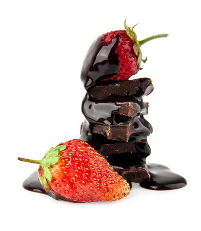 chocolate with strawberries on a white background photo