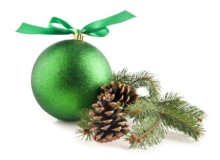 christmas beads: christmas decorations on a white background